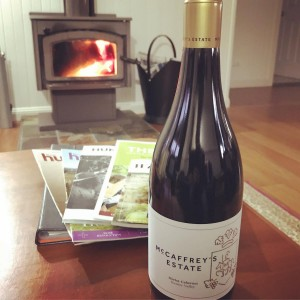 Wine and a warm fire awaiting our winter guests